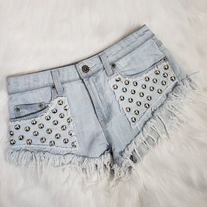 Carmar frayed studded short shorts